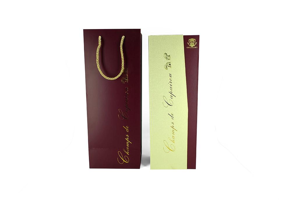 纸包木葡萄酒红酒盒包装订制+手挽袋一套